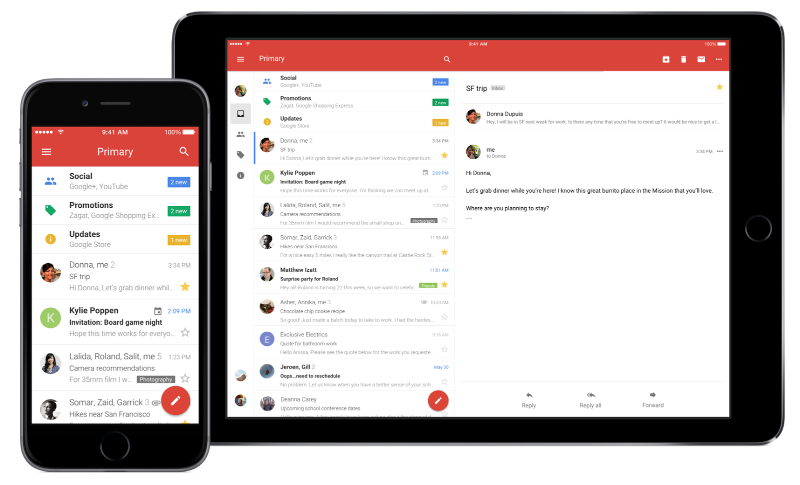 Gmail på iOS med eksempler på iPhone og iPad