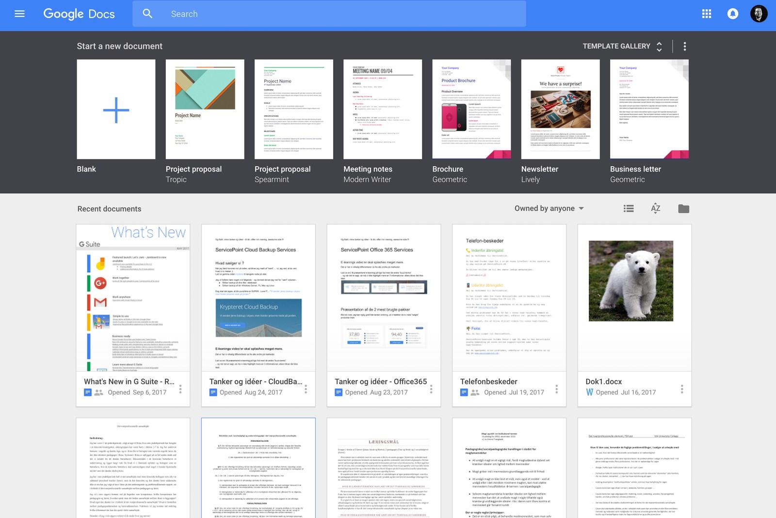 Google Docs Skærmbillede