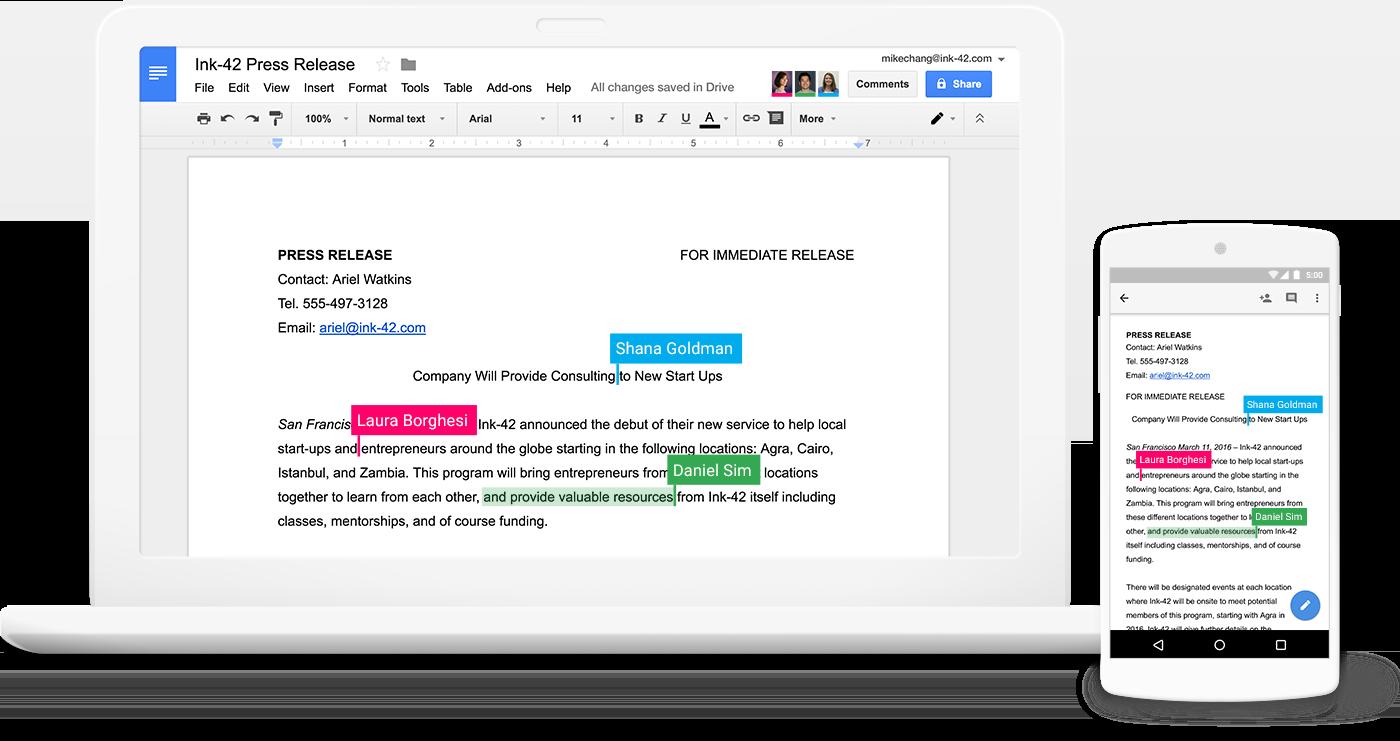 Google Docs Samarbejde Reatime Collaboration